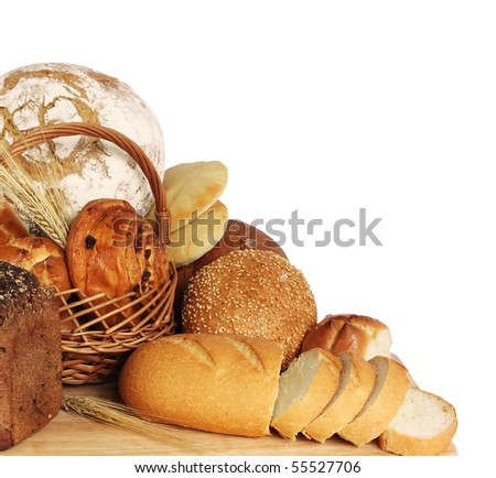large variety of bread, still life isolate on white  background