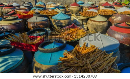 Large vessels in production of fish sauce in Binh Thuan province, Vietnam #1314238709