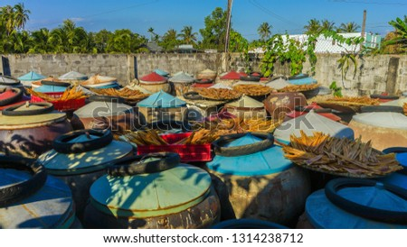 Large vessels in production of fish sauce in Binh Thuan province, Vietnam #1314238712
