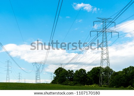 Large view on the powerline on the field #1107170180