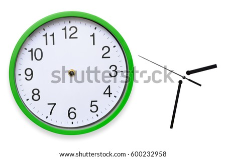 Large, wall, analog clock isolated on white background. #600232958