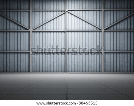 Large warehouse door illuminate spotlight