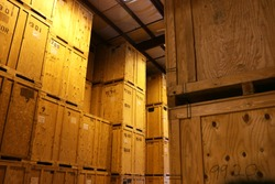 Large Warehouse of Big Wood Storage Crates