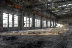 Large warehouse with large windows