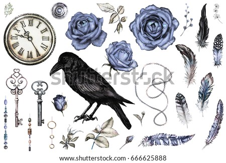 Large watercolor, Gothic set with a crow, blue  roses, keys, feathers, clock,  jewelry. Flowers and a bird in a tattoo style. Illustration isolated on white background. Vintage.