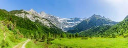 Large waterfall in the Cirque de Gavarnie, Pyrenees National Park, France