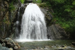 Large waterfall on rocks surrounded by green trees, bushes and stones in summer, the waterfall flows into the river