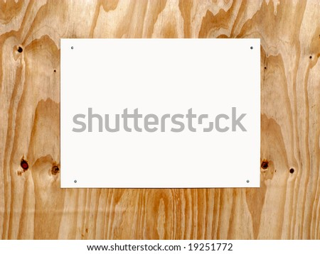 Large white blank sign on a wood board.