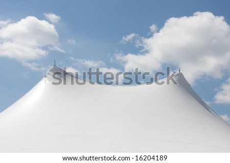 Large White Circus Tent over a blue sky #16204189