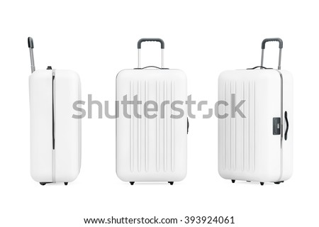 Large White Polycarbonate Suitcases on a white background
