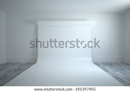 Large white screen in white room