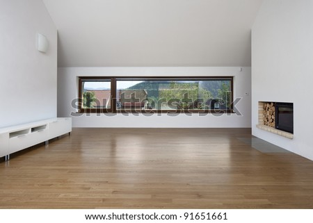 Living Room on Large Window In Living Room With Fireplace Stock Photo 91651661