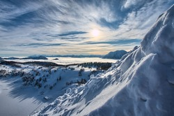 Large winter view at the mountains Alps Austria