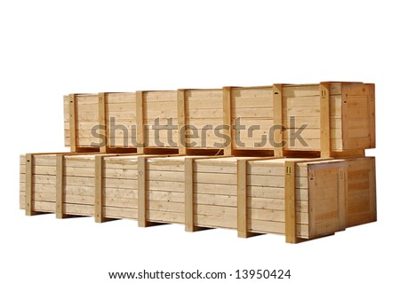 Large wooden crates for heavy mashinery - stock photo