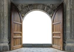 Large wooden door open in rock castle wall