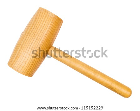 Large wooden hammer isolated on white with clipping path