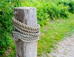 Large wooden post with thick rope wrapped around, near green vegetation.