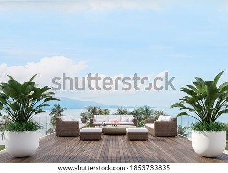 Large wooden terrace with sea view 3d render,There has wooden floors,glass railing,decorated with fabric and rattan furniture, decorated with big tree pot