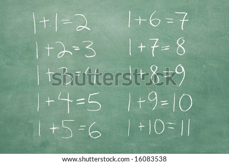 large XXL image of an old chalkboard with very extremely basic math problems and solutions - stock photo