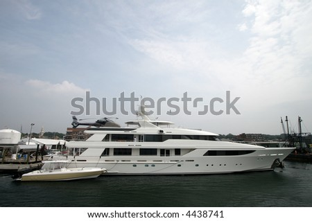 large yacht with helicopter pad