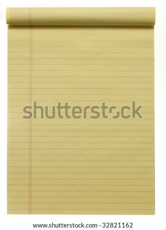 Large yellow lined legal pad, isolated on white.  Great for background and text.