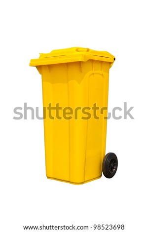 Large yellow trash can (garbage bin) with wheel, isolated on white background