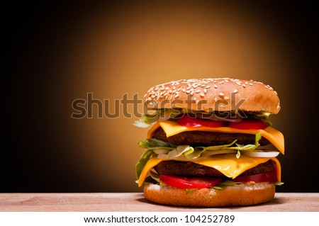 larger hamburger with text copy space