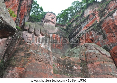 Largest buddha statue in the world in Leshan - China