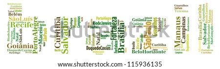 Largest cities or towns of Brazil info-text graphics and arrangement concept (word cloud) on white background - stock photo