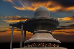Largest lord Shiva temple in sunset background