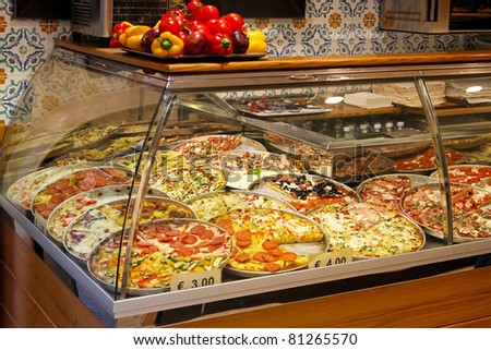 Largest pizza selection in Italian fast food restaurant