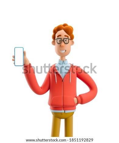 Larry the nerd.  Nerd Larry  holds the phone. 3d illustration. Stock foto ©