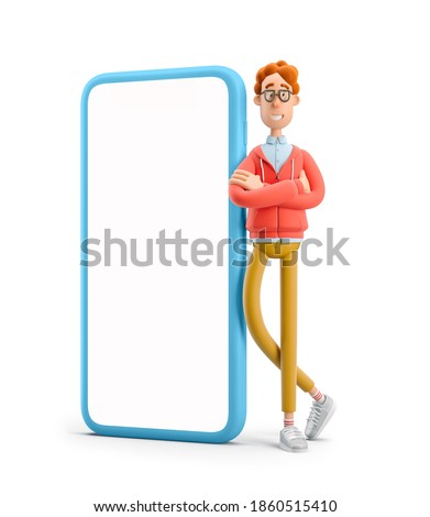 Larry the nerd.  Nerd Larry  standing next to a large phone. 3d illustration.