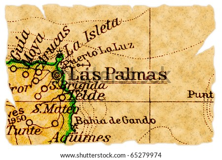 Las Palmas, Gran Canaria on an old torn map from 1949, isolated. Part of the old map series.