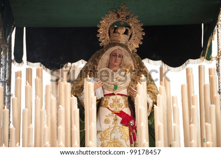 LAS PALMAS, SPAIN-APRIL 2: The float of Virgin Mary, during Palm Sunday marching procession on April 2, 2012 in Las Palmas, Spain