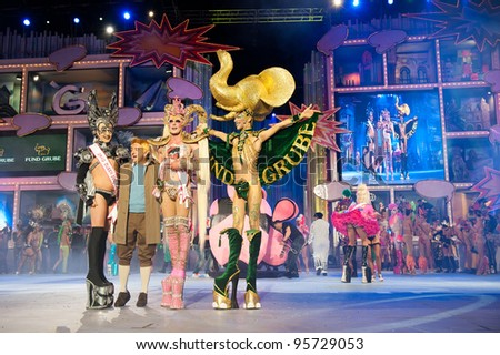 LAS PALMAS ,SPAIN-FEBRUARY 17:Drag Queen Kuki(m), Juan Miguel Sosa(l) and unidentified drag(r), all from Canary Islands, during The Carnival's Drag Queen Gala on February 17, 2012 in Las Palmas,Spain
