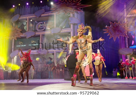 LAS PALMAS ,SPAIN -FEBRUARY 17: 1st winner Drag Queen Kuki, Antonio Ceballos Ortega(m), from Canary Islands, during The Carnival's Drag Queen Gala on February 17, 2012 in Las Palmas,Spain