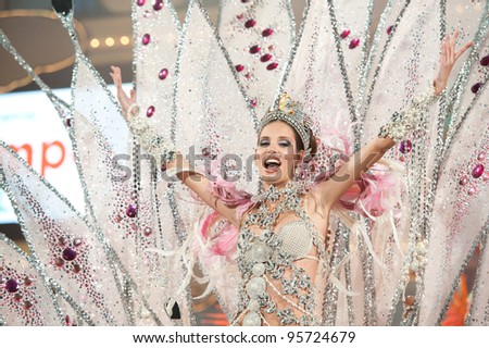 LAS PALMAS ,SPAIN-FEBRUARY 20: 1st winner of the Queen contest, Laura Medina, from Canary Islands, perform during Gran Gala on February 20, 2012 in Las Palmas, Spain - stock photo