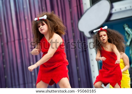 LAS PALMAS, SPAIN - FEBRUARY 12: Unidentified Children from Suleica Borges, from Canary Islands, perform during The Children's Costume Competition on February 12, 2012 in Las Palmas, Spain