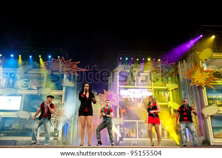 LAS PALMAS, SPAIN - FEBRUARY 13: Unidentified members of the band Primera Linea, from Canary Islands, performing onstage during Social Integration Gala on February 13, 2012 in Las Palmas, Spain