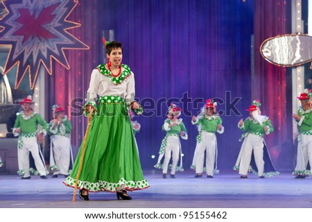 LAS PALMAS, SPAIN-FEBRUARY 13: Unidentified people from the center for handicapped Mogan, from Canary Islands, perform during Social Integration Gala on February 13, 2012 in Las Palmas, Spain