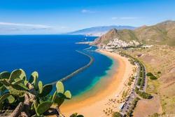 Las Teresitas beach, with Santa Cruz and El Teide in the background, Tenerife, Canary Island, Spain