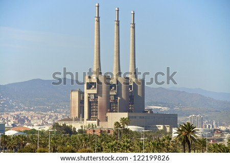 Las tres chimeneas de Sant Adria . An old decommissioned power plant on the beach in the north of Barcelona. The power plant is today an industrial monument