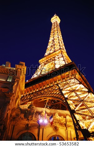 LAS VEGA, NEVADA - MARCH 4:  Eiffel tower of Paris Hotel in Las Vegas illuminated at night, March 4, 2010 in Las Vegas, Nevada.