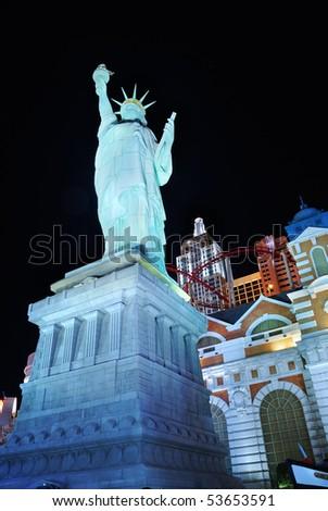 LAS VEGA, NEVADA - MARCH 4:  Statue of liberty from New York New York Hotel illuminated at night., March 4, 2010 in Las Vegas, Nevada.