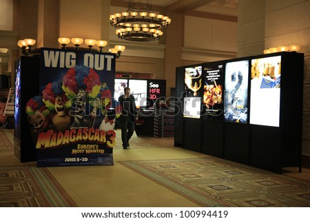 LAS VEGAS - APR 25: Posters on display at Caesars Palace during CinemaCon, the official convention of the National Association of Theater Owners on April 25, 2012 in Las Vegas, Nevada