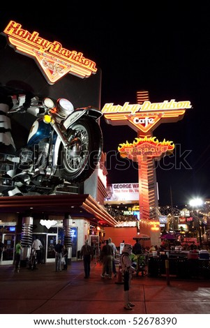 LAS VEGAS - APRIL 09:Harley Davidson Cafe located on the Las Vegas Strip is shown on April 09, 2010 in Las Vegas. The scale replica Sportster, caused traffic to halt when erected in 1997