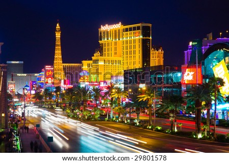 LAS VEGAS - APRIL 15: In this time lapse image, traffic travels along the Las Vegas strip on April 15, 2009 in Las Vegas. The strip is approximately 4.2 mi (6.8 km) long.
