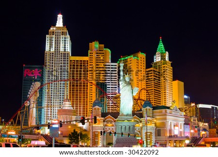 LAS VEGAS - APRIL 1: New York-New York located on the Las Vegas Strip is shown on April 1, 2009 in Las Vegas. Replica of the Statue of Liberty is 150 ft (46 m) and the property opened in 1997. - stock photo