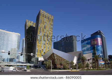 LAS VEGAS - AUG 15: City Center on August 15, 2011 in Las Vegas, Nevada. This mixed-use complex, 76 acres, opened in December 2010 and was the largest privately funded construction project in US history.